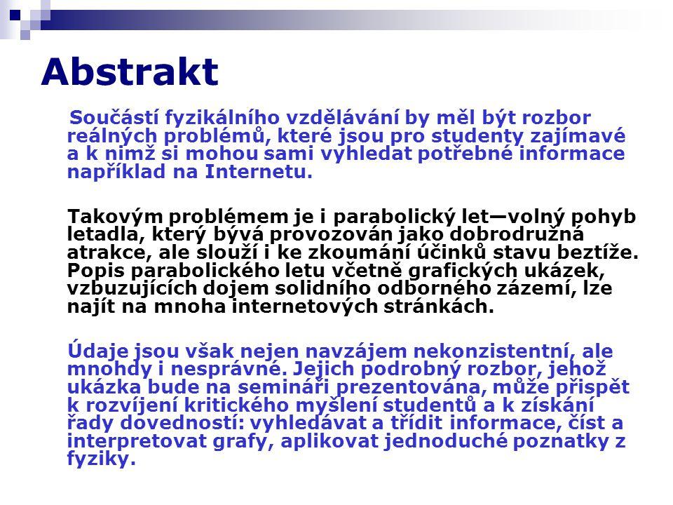 Parabolický let na Internetu T.Nečas: Zajímavé úlohy z mechaniky.