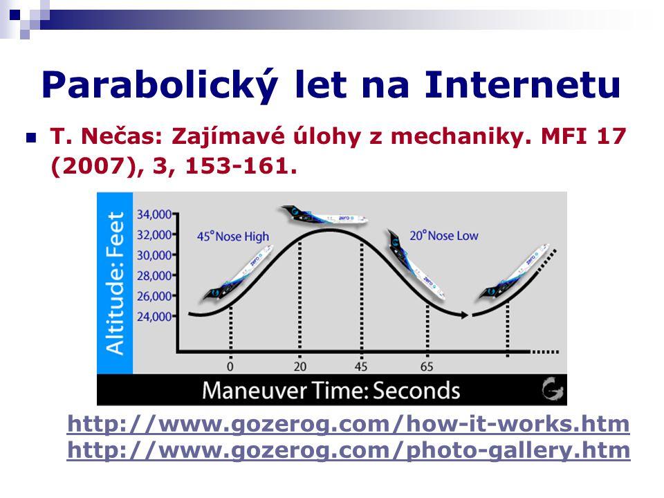 Parabolický let na Internetu T. Nečas: Zajímavé úlohy z mechaniky. MFI 17 (2007), 3, 153-161. http://www.gozerog.com/how-it-works.htm http://www.gozer