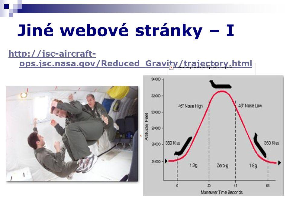 Jiné webové stránky – I http://jsc-aircraft- ops.jsc.nasa.gov/Reduced_Gravity/trajectory.html