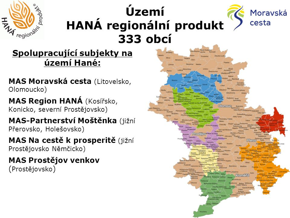 Území HANÁ regionální produkt 333 obcí Spolupracující subjekty na území Hané: MAS Moravská cesta (Litovelsko, Olomoucko) MAS Region HANÁ (Kosířsko, Konicko, severní Prostějovsko) MAS-Partnerství Moštěnka (jižní Přerovsko, Holešovsko) MAS Na cestě k prosperitě (jižní Prostějovsko Němčicko) MAS Prostějov venkov ( Prostějovsko )