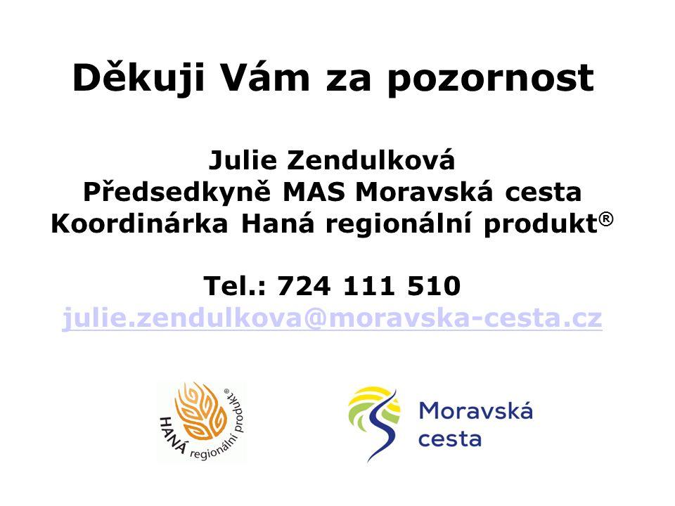 Děkuji Vám za pozornost Julie Zendulková Předsedkyně MAS Moravská cesta Koordinárka Haná regionální produkt ® Tel.: 724 111 510 julie.zendulkova@morav