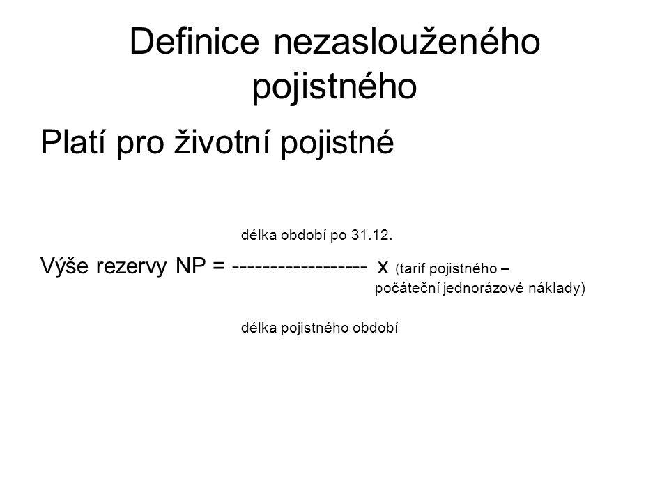 Definice nezaslouženého pojistného Platí pro životní pojistné délka období po 31.12.