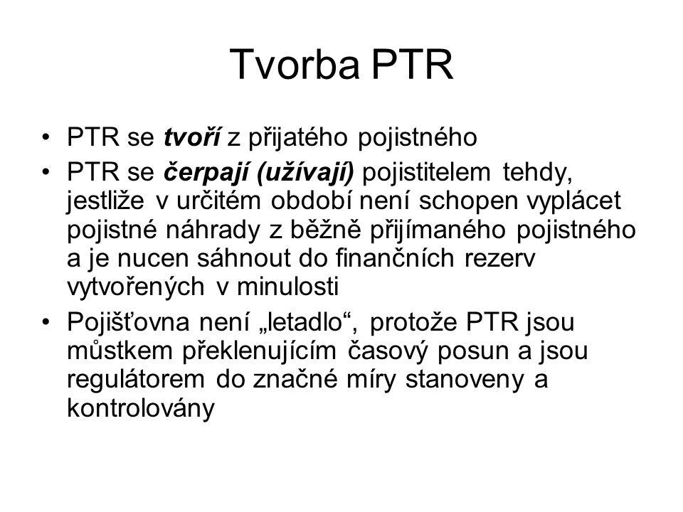 """Tvorba PTR PTR se tvoří z přijatého pojistného PTR se čerpají (užívají) pojistitelem tehdy, jestliže v určitém období není schopen vyplácet pojistné náhrady z běžně přijímaného pojistného a je nucen sáhnout do finančních rezerv vytvořených v minulosti Pojišťovna není """"letadlo , protože PTR jsou můstkem překlenujícím časový posun a jsou regulátorem do značné míry stanoveny a kontrolovány"""