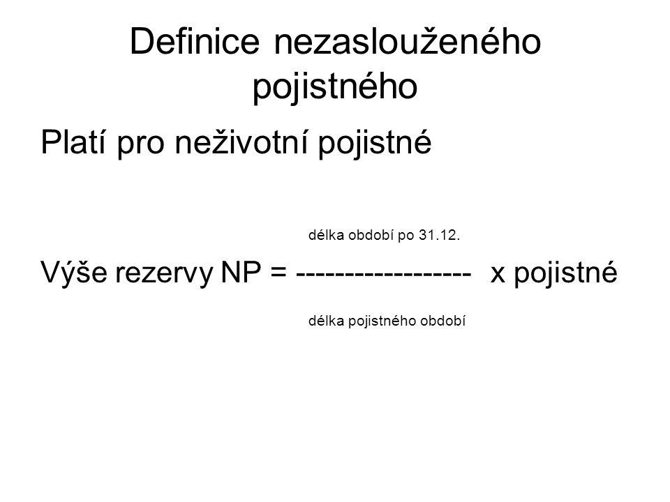 Definice nezaslouženého pojistného Platí pro neživotní pojistné délka období po 31.12.