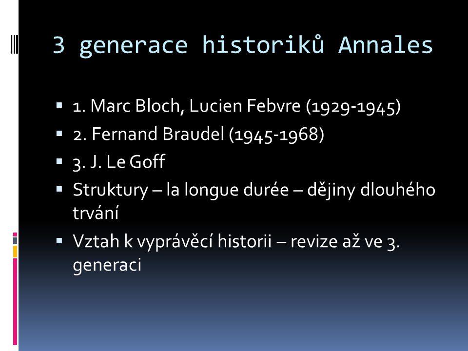 3 generace historiků Annales  1. Marc Bloch, Lucien Febvre (1929-1945)  2. Fernand Braudel (1945-1968)  3. J. Le Goff  Struktury – la longue durée