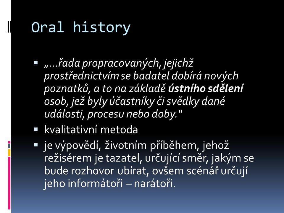 """Oral history  """"…řada propracovaných, jejichž prostřednictvím se badatel dobírá nových poznatků, a to na základě ústního sdělení osob, jež byly účastn"""