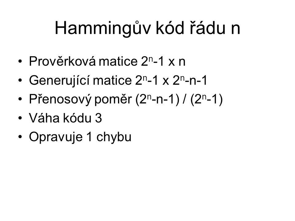 Hammingův kód řádu n Prověrková matice 2 n -1 x n Generující matice 2 n -1 x 2 n -n-1 Přenosový poměr (2 n -n-1) / (2 n -1) Váha kódu 3 Opravuje 1 chy