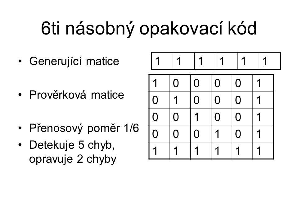 6ti násobný opakovací kód Generující matice Prověrková matice Přenosový poměr 1/6 Detekuje 5 chyb, opravuje 2 chyby 111111 100001 010001 001001 000101