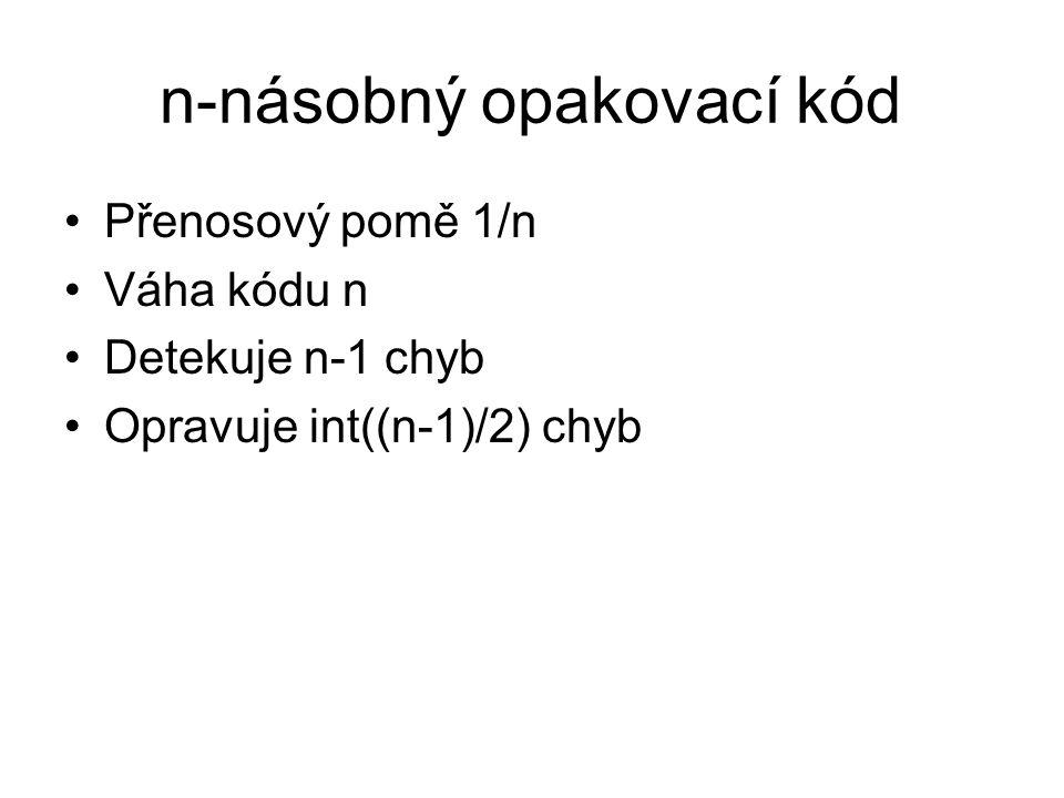 Parita Generující matice Prověrková matice Přenosový poměr 2/3 Váha kódu 2 Detekuje 1 chybu Duální k opakovacímu kódu 111 101 011
