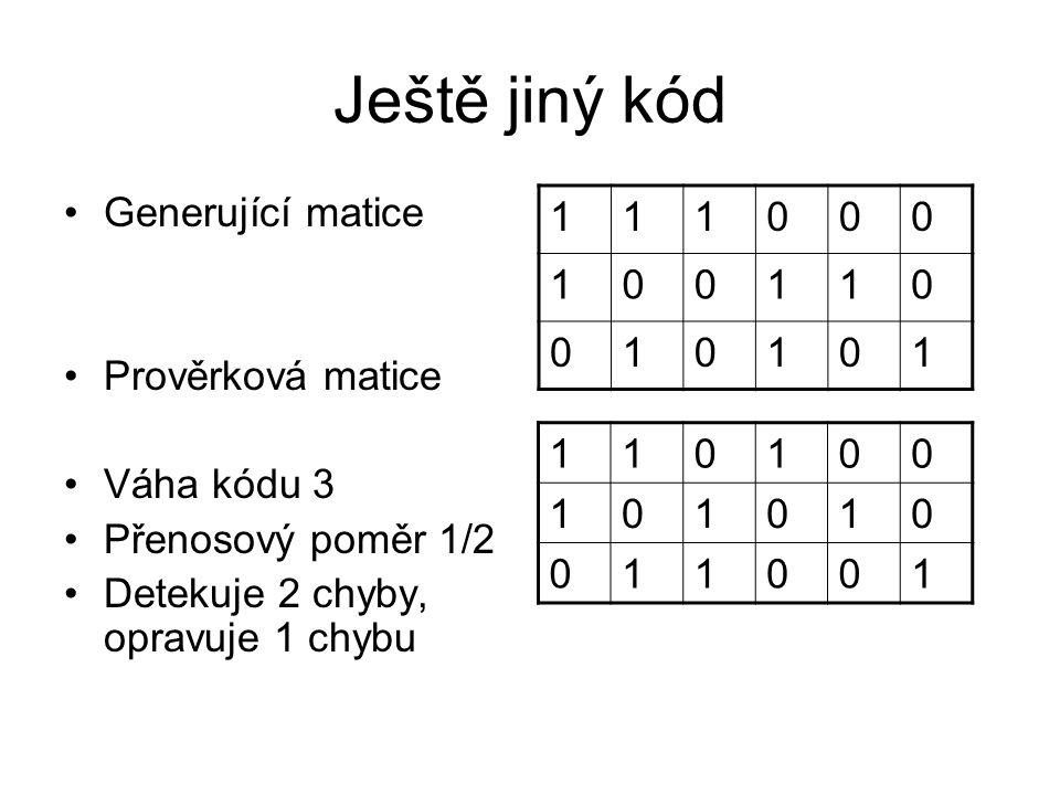 Ještě jiný kód Generující matice Prověrková matice Váha kódu 3 Přenosový poměr 1/2 Detekuje 2 chyby, opravuje 1 chybu 111000 100110 010101 110100 1010