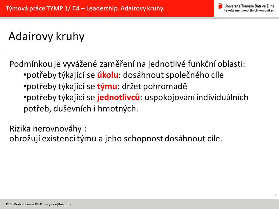 13 PhDr. Pavla Kotyzová, Ph. D., kotyzova@fmk.utb.cz Adairovy kruhy Týmová práce TYMP 1/ C4 – Leadership. Adairovy kruhy. Podmínkou je vyvážené zaměře