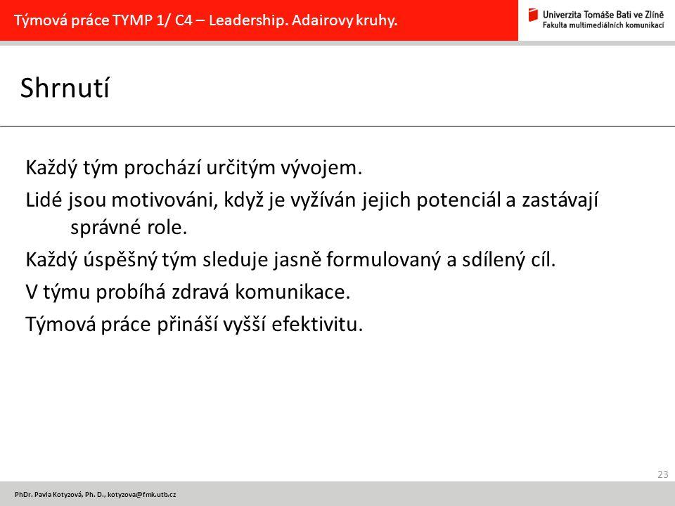 23 PhDr. Pavla Kotyzová, Ph. D., kotyzova@fmk.utb.cz Shrnutí Týmová práce TYMP 1/ C4 – Leadership. Adairovy kruhy. Každý tým prochází určitým vývojem.