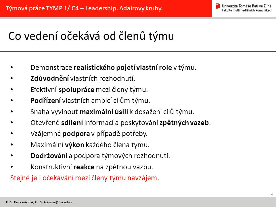 4 PhDr. Pavla Kotyzová, Ph. D., kotyzova@fmk.utb.cz Co vedení očekává od členů týmu Týmová práce TYMP 1/ C4 – Leadership. Adairovy kruhy. Demonstrace