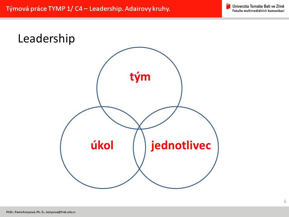 PhDr. Pavla Kotyzová, Ph. D., kotyzova@fmk.utb.cz Leadership tým úkol jednotlivec Týmová práce TYMP 1/ C4 – Leadership. Adairovy kruhy. 6