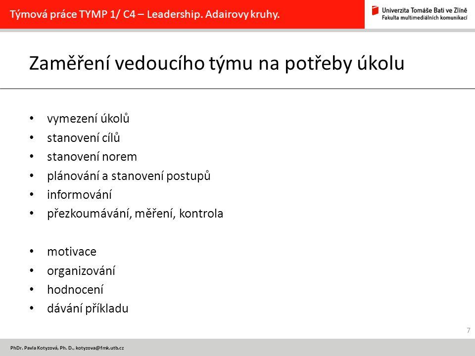 PhDr. Pavla Kotyzová, Ph. D., kotyzova@fmk.utb.cz Zaměření vedoucího týmu na potřeby úkolu vymezení úkolů stanovení cílů stanovení norem plánování a s