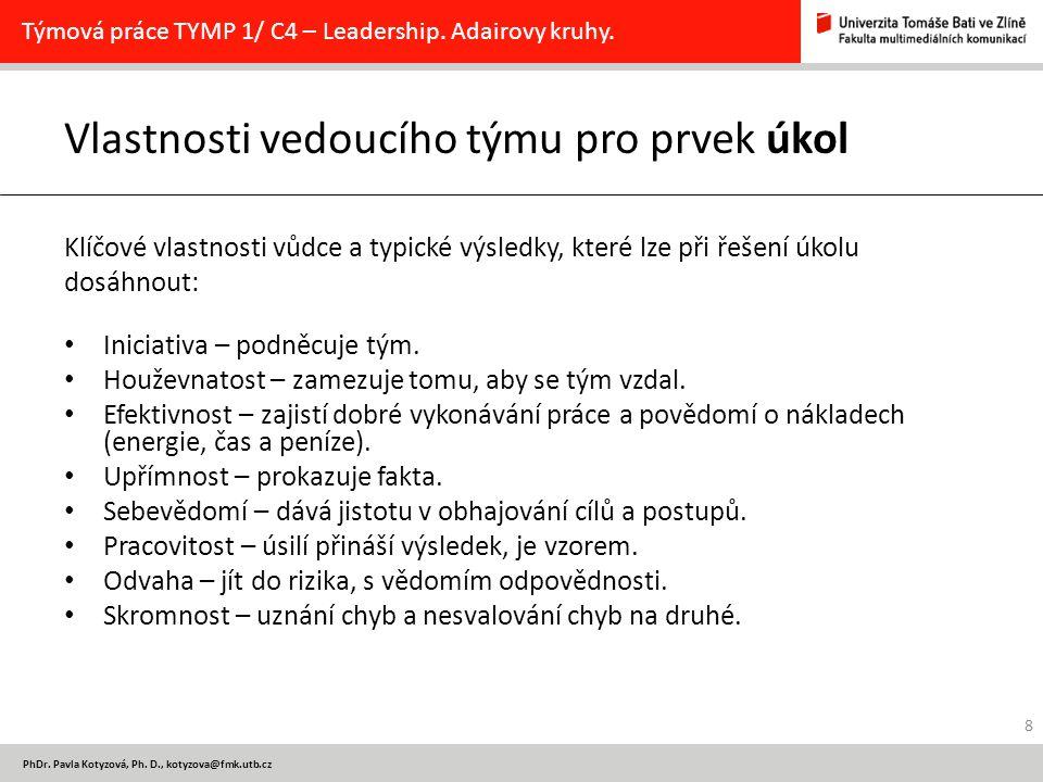 PhDr. Pavla Kotyzová, Ph. D., kotyzova@fmk.utb.cz Vlastnosti vedoucího týmu pro prvek úkol Klíčové vlastnosti vůdce a typické výsledky, které lze při