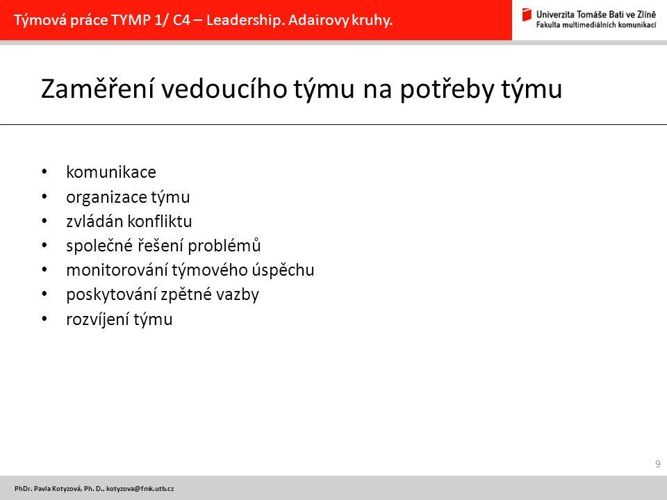 PhDr. Pavla Kotyzová, Ph. D., kotyzova@fmk.utb.cz Zaměření vedoucího týmu na potřeby týmu komunikace organizace týmu zvládán konfliktu společné řešení