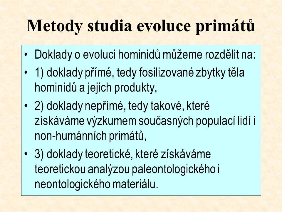 Metody studia evoluce primátů Doklady o evoluci hominidů můžeme rozdělit na: 1) doklady přímé, tedy fosilizované zbytky těla hominidů a jejich produkty, 2) doklady nepřímé, tedy takové, které získáváme výzkumem současných populací lidí i non-humánních primátů, 3) doklady teoretické, které získáváme teoretickou analýzou paleontologického i neontologického materiálu.