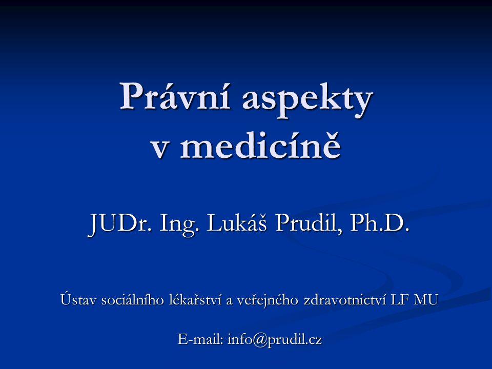 Právní aspekty v medicíně JUDr.Ing. Lukáš Prudil, Ph.D.