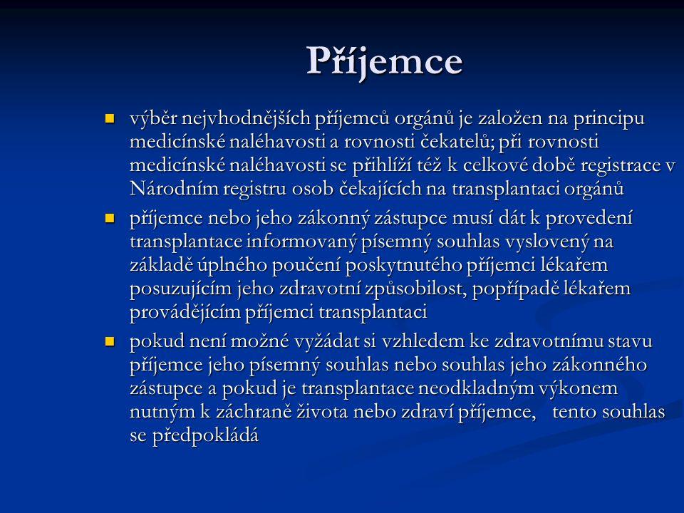 Příjemce výběr nejvhodnějších příjemců orgánů je založen na principu medicínské naléhavosti a rovnosti čekatelů; při rovnosti medicínské naléhavosti se přihlíží též k celkové době registrace v Národním registru osob čekajících na transplantaci orgánů výběr nejvhodnějších příjemců orgánů je založen na principu medicínské naléhavosti a rovnosti čekatelů; při rovnosti medicínské naléhavosti se přihlíží též k celkové době registrace v Národním registru osob čekajících na transplantaci orgánů příjemce nebo jeho zákonný zástupce musí dát k provedení transplantace informovaný písemný souhlas vyslovený na základě úplného poučení poskytnutého příjemci lékařem posuzujícím jeho zdravotní způsobilost, popřípadě lékařem provádějícím příjemci transplantaci příjemce nebo jeho zákonný zástupce musí dát k provedení transplantace informovaný písemný souhlas vyslovený na základě úplného poučení poskytnutého příjemci lékařem posuzujícím jeho zdravotní způsobilost, popřípadě lékařem provádějícím příjemci transplantaci pokud není možné vyžádat si vzhledem ke zdravotnímu stavu příjemce jeho písemný souhlas nebo souhlas jeho zákonného zástupce a pokud je transplantace neodkladným výkonem nutným k záchraně života nebo zdraví příjemce, tento souhlas se předpokládá pokud není možné vyžádat si vzhledem ke zdravotnímu stavu příjemce jeho písemný souhlas nebo souhlas jeho zákonného zástupce a pokud je transplantace neodkladným výkonem nutným k záchraně života nebo zdraví příjemce, tento souhlas se předpokládá