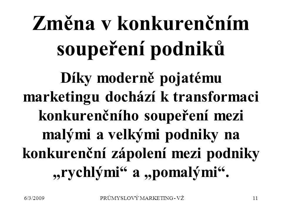 """6/3/2009PRŮMYSLOVÝ MARKETING - VŽ11 Změna v konkurenčním soupeření podniků Díky moderně pojatému marketingu dochází k transformaci konkurenčního soupeření mezi malými a velkými podniky na konkurenční zápolení mezi podniky """"rychlými a """"pomalými ."""