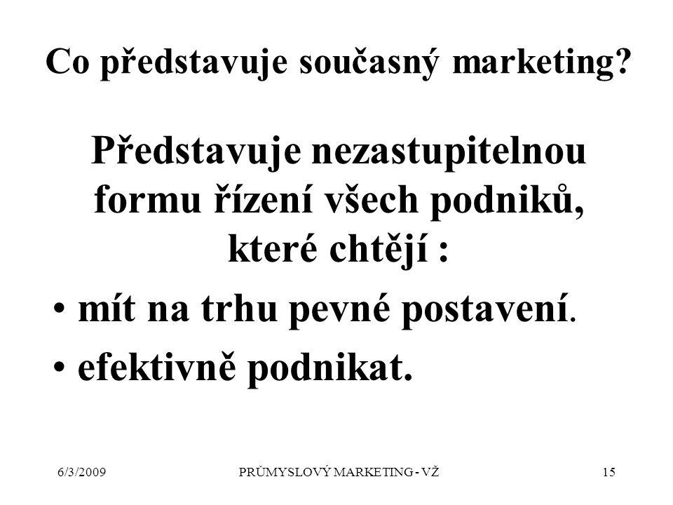 6/3/2009PRŮMYSLOVÝ MARKETING - VŽ15 Představuje nezastupitelnou formu řízení všech podniků, které chtějí : mít na trhu pevné postavení.