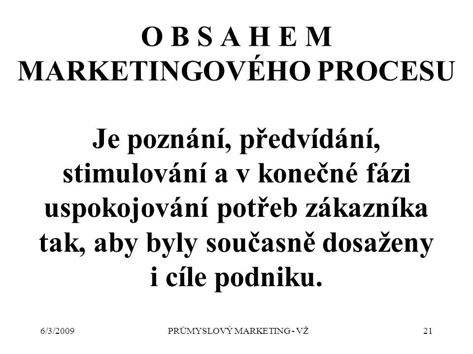 6/3/2009PRŮMYSLOVÝ MARKETING - VŽ21 O B S A H E M MARKETINGOVÉHO PROCESU Je poznání, předvídání, stimulování a v konečné fázi uspokojování potřeb zákazníka tak, aby byly současně dosaženy i cíle podniku.