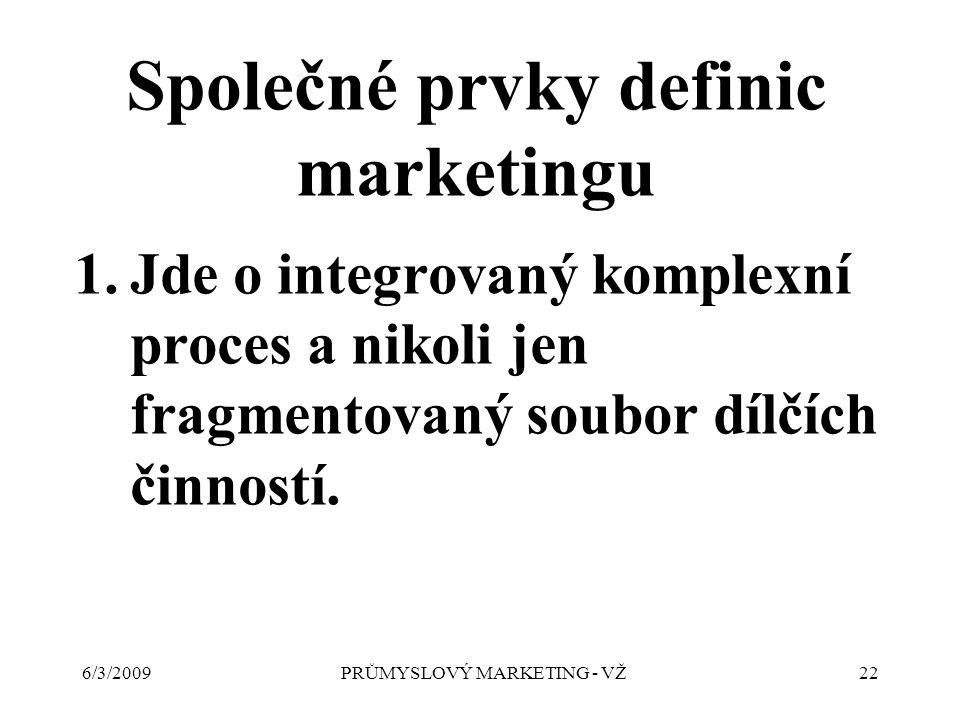 6/3/2009PRŮMYSLOVÝ MARKETING - VŽ22 Společné prvky definic marketingu 1.Jde o integrovaný komplexní proces a nikoli jen fragmentovaný soubor dílčích činností.