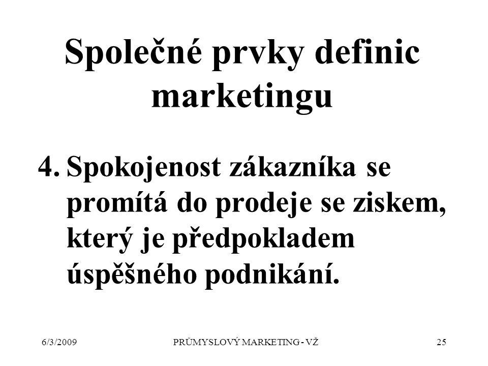 6/3/2009PRŮMYSLOVÝ MARKETING - VŽ25 4.Spokojenost zákazníka se promítá do prodeje se ziskem, který je předpokladem úspěšného podnikání.