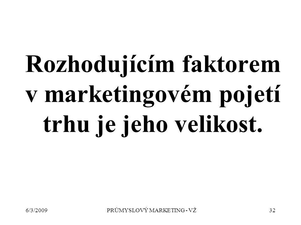 6/3/2009PRŮMYSLOVÝ MARKETING - VŽ32 Rozhodujícím faktorem v marketingovém pojetí trhu je jeho velikost.