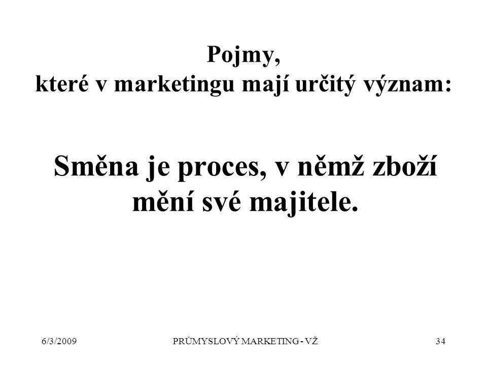 6/3/2009PRŮMYSLOVÝ MARKETING - VŽ34 Směna je proces, v němž zboží mění své majitele.