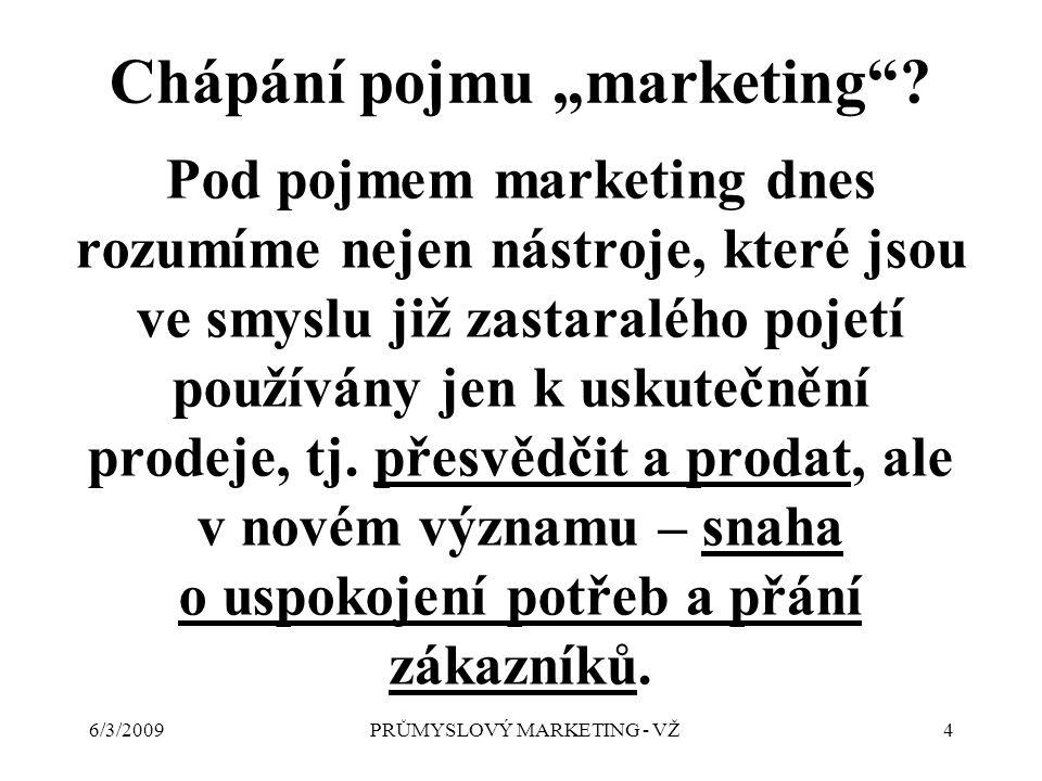 """6/3/2009PRŮMYSLOVÝ MARKETING - VŽ4 Chápání pojmu """"marketing ."""