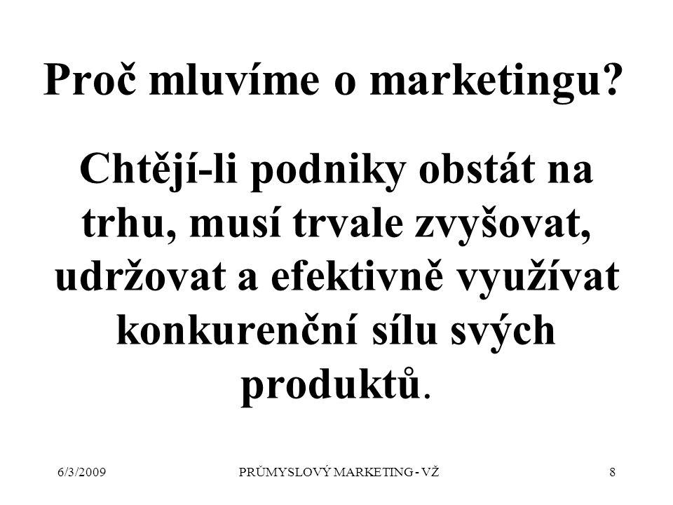 6/3/2009PRŮMYSLOVÝ MARKETING - VŽ8 Proč mluvíme o marketingu.