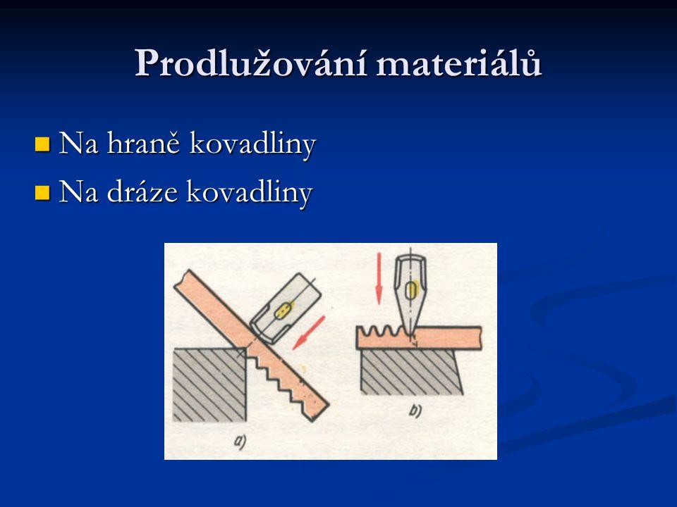 Prodlužování materiálů Na hraně kovadliny Na dráze kovadliny