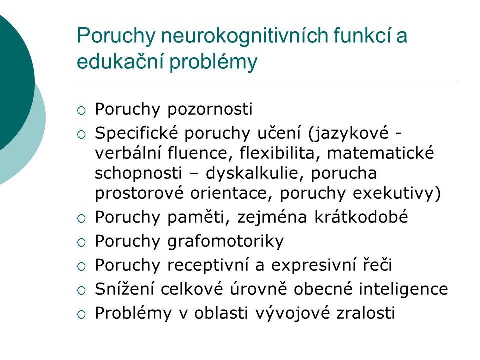 Poruchy neurokognitivních funkcí a edukační problémy  Poruchy pozornosti  Specifické poruchy učení (jazykové - verbální fluence, flexibilita, matema