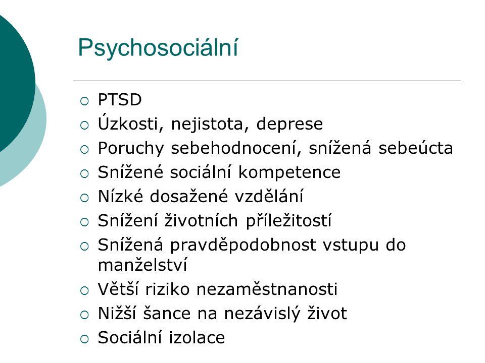 Psychosociální  PTSD  Úzkosti, nejistota, deprese  Poruchy sebehodnocení, snížená sebeúcta  Snížené sociální kompetence  Nízké dosažené vzdělání