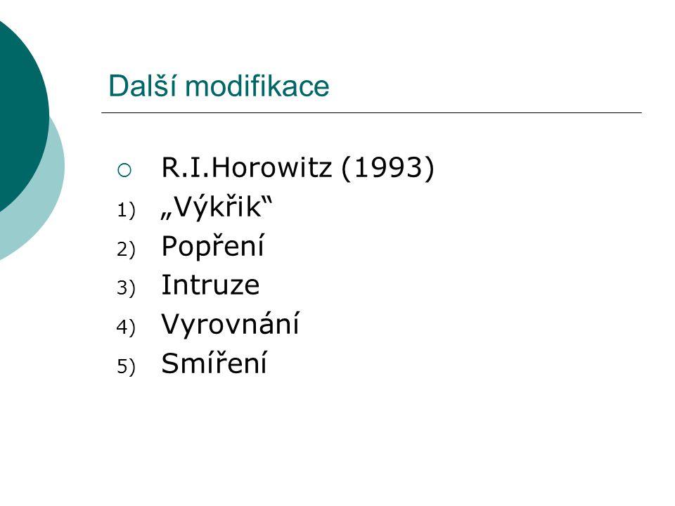 """Další modifikace  R.I.Horowitz (1993) 1) """"Výkřik"""" 2) Popření 3) Intruze 4) Vyrovnání 5) Smíření"""