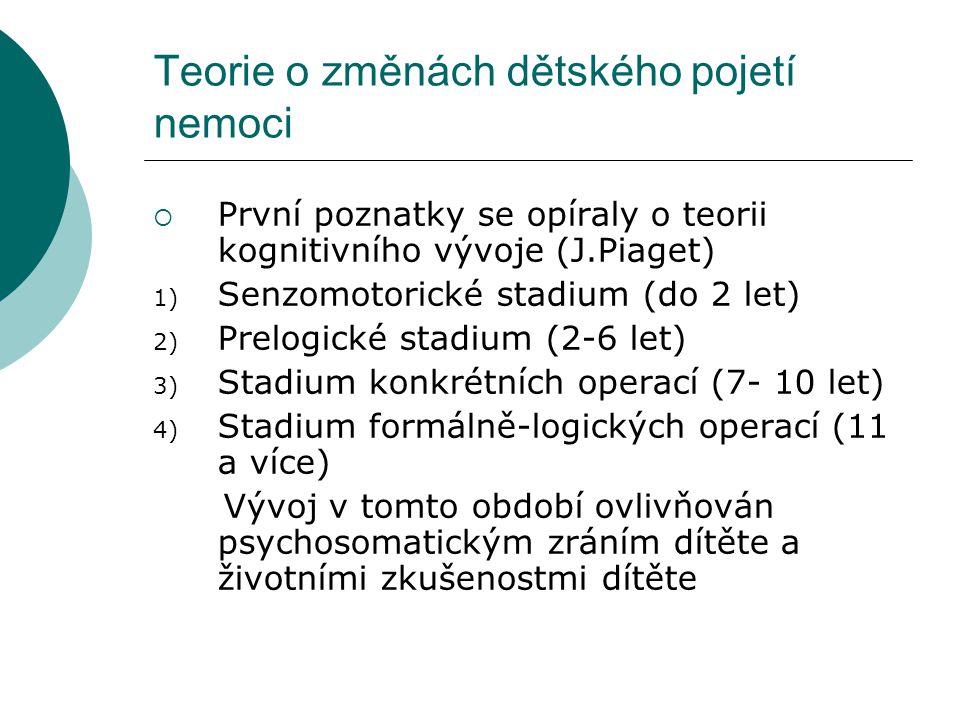 Teorie o změnách dětského pojetí nemoci  První poznatky se opíraly o teorii kognitivního vývoje (J.Piaget) 1) Senzomotorické stadium (do 2 let) 2) Pr