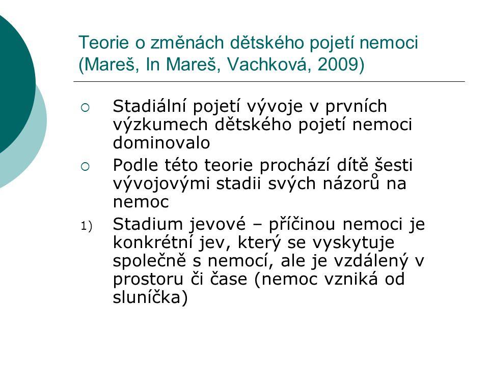 Teorie o změnách dětského pojetí nemoci (Mareš, In Mareš, Vachková, 2009)  Stadiální pojetí vývoje v prvních výzkumech dětského pojetí nemoci dominov