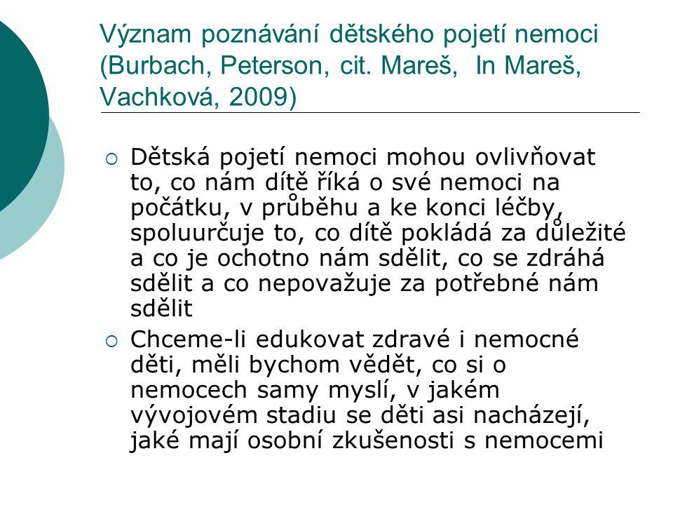 Význam poznávání dětského pojetí nemoci (Burbach, Peterson, cit. Mareš, In Mareš, Vachková, 2009)  Dětská pojetí nemoci mohou ovlivňovat to, co nám d