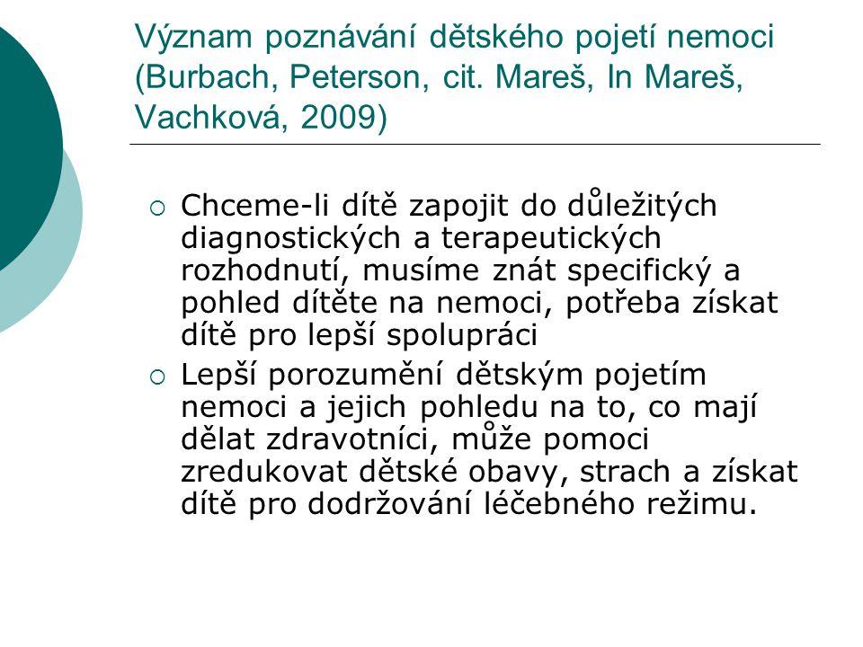 Význam poznávání dětského pojetí nemoci (Burbach, Peterson, cit. Mareš, In Mareš, Vachková, 2009)  Chceme-li dítě zapojit do důležitých diagnostickýc