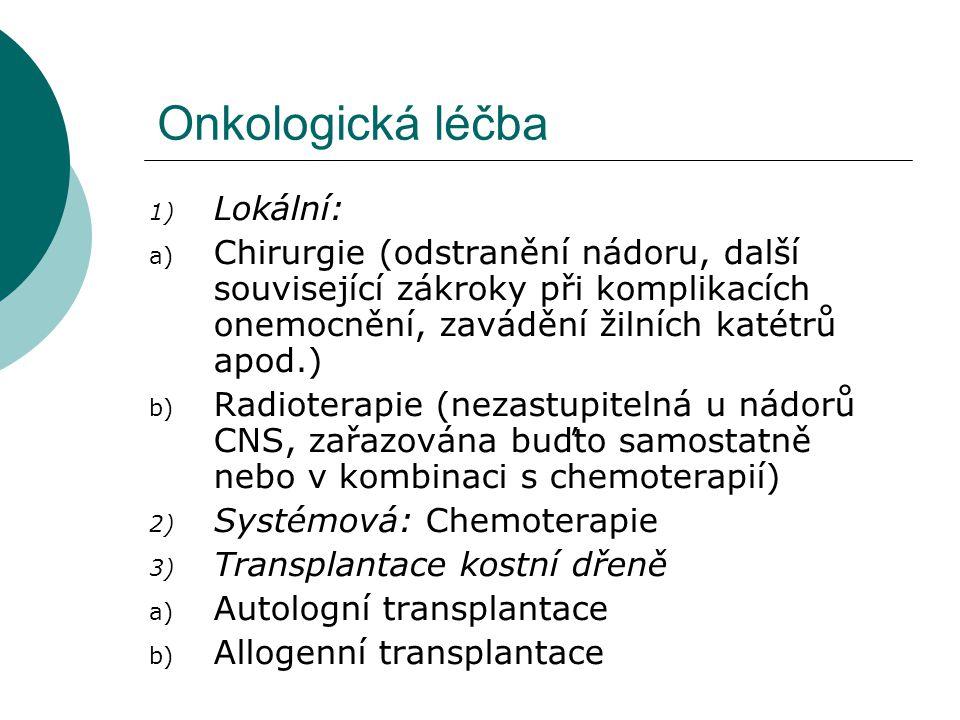 Onkologická léčba 1) Lokální: a) Chirurgie (odstranění nádoru, další související zákroky při komplikacích onemocnění, zavádění žilních katétrů apod.)