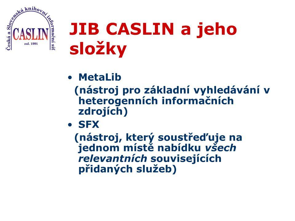 JIB CASLIN a jeho složky MetaLib (nástroj pro základní vyhledávání v heterogenních informačních zdrojích) SFX (nástroj, který soustřeďuje na jednom mí