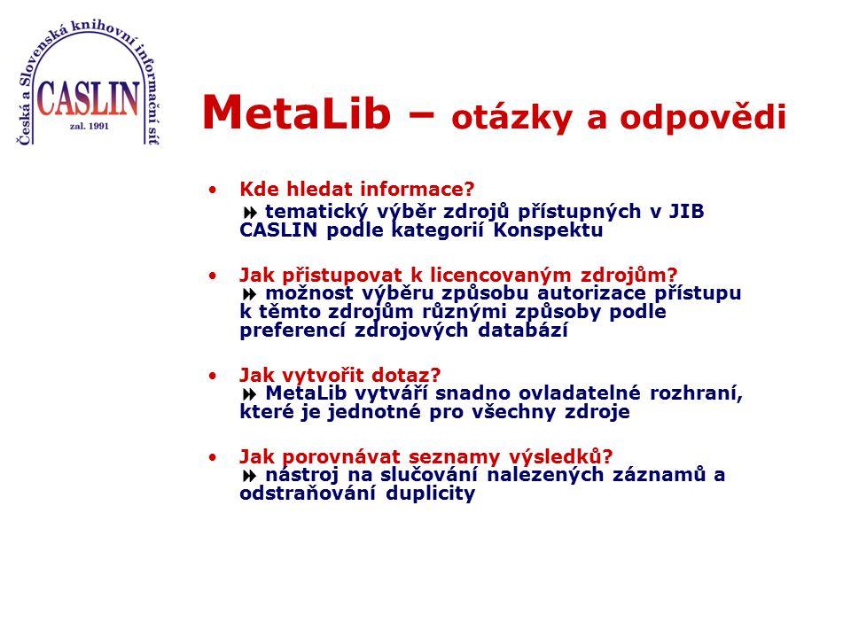 M etaLib – otázky a odpovědi Kde hledat informace?  tematický výběr zdrojů přístupných v JIB CASLIN podle kategorií Konspektu Jak přistupovat k licen