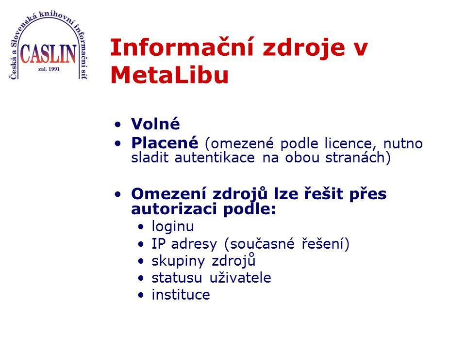 Informační zdroje v MetaLibu Volné Placené (omezené podle licence, nutno sladit autentikace na obou stranách) Omezení zdrojů lze řešit přes autorizaci