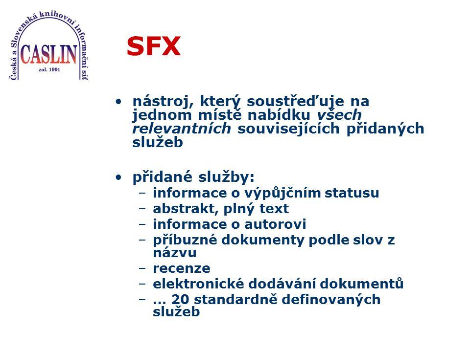 SFX nástroj, který soustřeďuje na jednom místě nabídku všech relevantních souvisejících přidaných služeb přidané služby: –informace o výpůjčním status