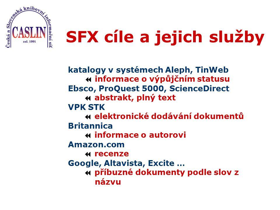 SFX cíle a jejich služby katalogy v systémech Aleph, TinWeb  informace o výpůjčním statusu Ebsco, ProQuest 5000, ScienceDirect  abstrakt, plný text