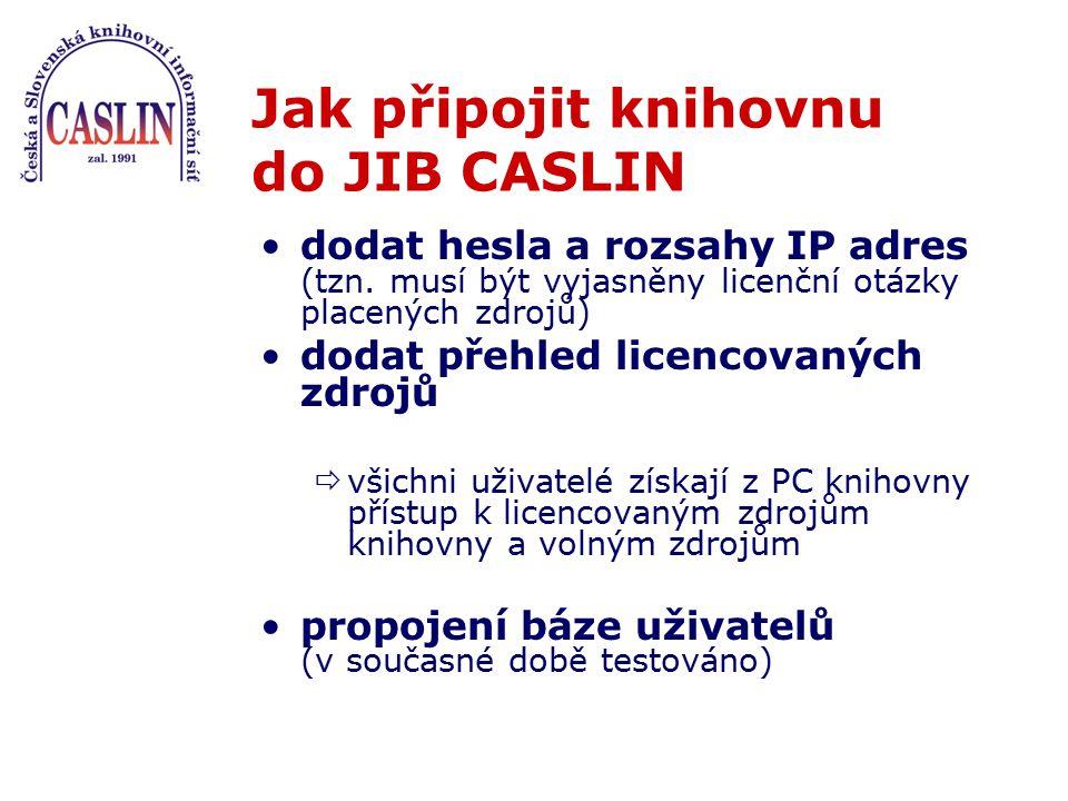 Jak připojit knihovnu do JIB CASLIN dodat hesla a rozsahy IP adres (tzn. musí být vyjasněny licenční otázky placených zdrojů) dodat přehled licencovan