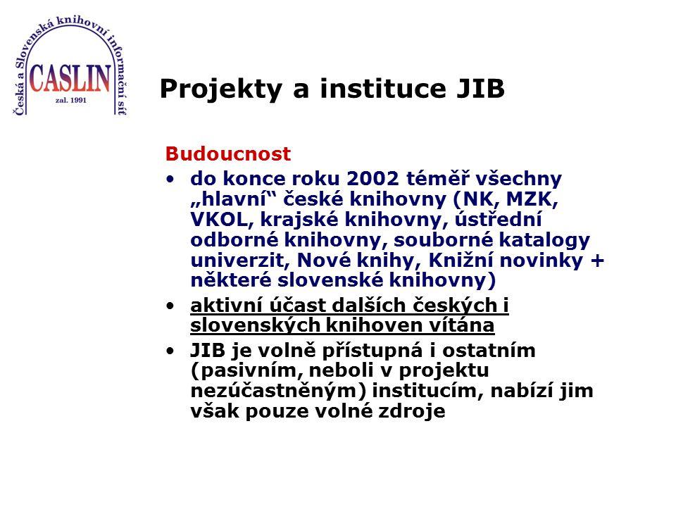 """Projekty a instituce JIB Budoucnost do konce roku 2002 téměř všechny """"hlavní"""" české knihovny (NK, MZK, VKOL, krajské knihovny, ústřední odborné knihov"""