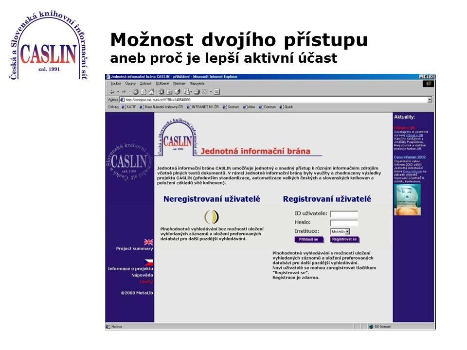 Cíle JIB CASLIN integrace heterogenních informačních zdrojů a jejich kvalitativně nového zpřístupnění zmapování informačních zdrojů dostupných v českých knihovnách a kooperace při jejich budování a sdílení